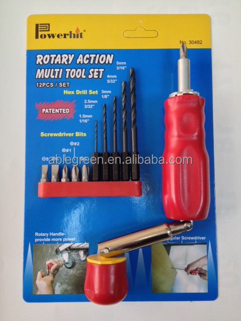 Rotary Action Multi- 12 pcs Tool Set & autoloading Screwdriver