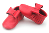 Hot red colors genuine leather moccasins bow fancy cute Christmas baby dress shoes