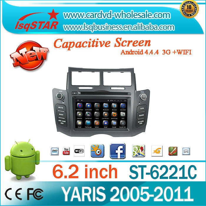 Central multimedia Support 3G /Wifi/OBD/TPMS Android 4.4 auto radio audio RDS ,GPS Bluetooth car dvd for Toyota YARIS 2005-2011
