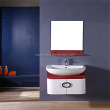 Simple design pvc wall mounted curved bathroom vanity with mirror