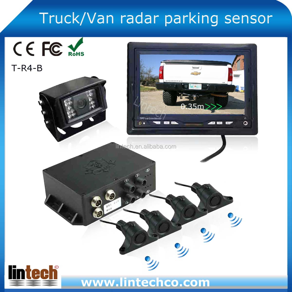 Long Range Car/Bus/Vehicle/Trailer/Truck Parking Sensor With 7 Inch Lcd Display