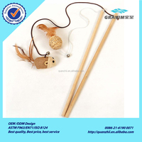 Cute wooden rod with mouse and wing and small bell for pet cat toys