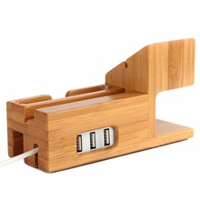 Bamboo Wood Watch Stand, with 3 USB Ports, Desktop Smart Charging Station for iPhone 7, 6, 6s Plus, 38mm/ 42mm for Apple Watch