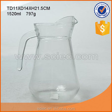 wholesale clear glass water pitcher with handle