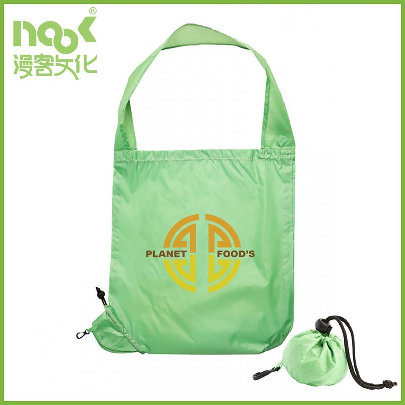 Waterproof polyester material quickly folds tote bag with rope