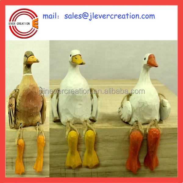 decorative hand carved wood sitting ducks