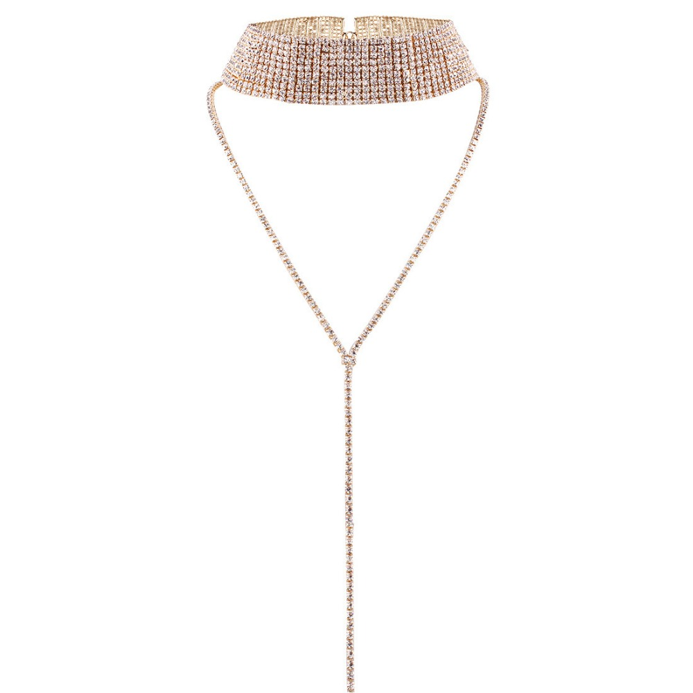 women sexy full rhinestone choker collar <strong>necklace</strong> with long chain
