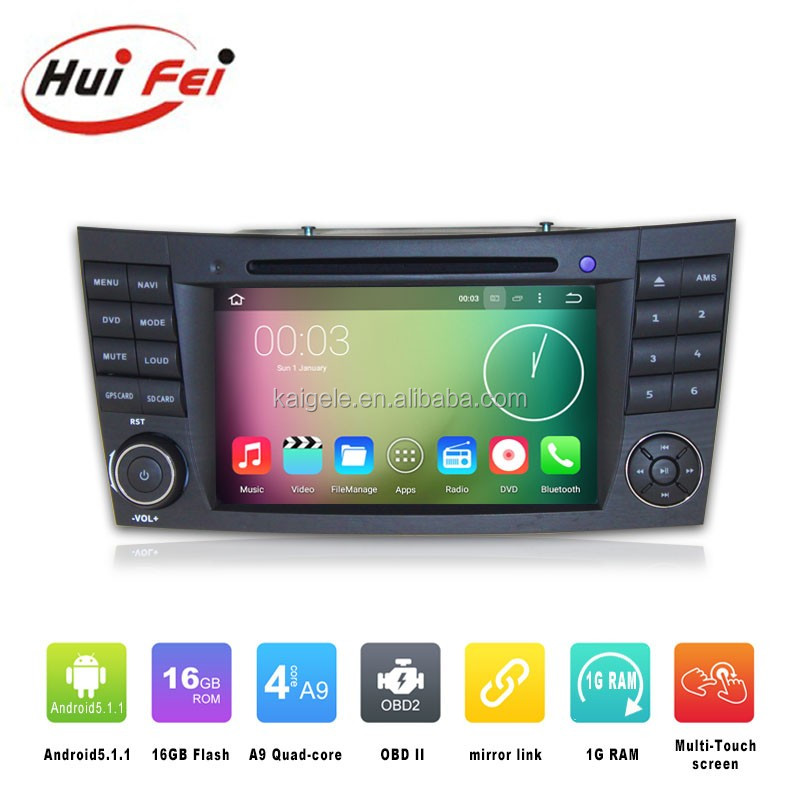 Huifei 2016 Newest Pure Android 5.1.1 Quad-Core 1024*600 resolution DVD Navigation Car Audio System For Mercedes Benz W211