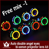 Double angel eye ring bi-xenon projector lens hid xenon lens kit Fog Lamp/Lights w/ Halo CCFL Angel Eyes
