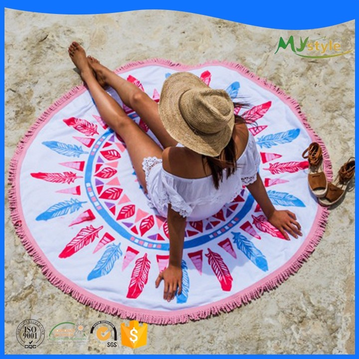 Sublimation printed Microfiber Sport yoga Towel custom print Round beach towels