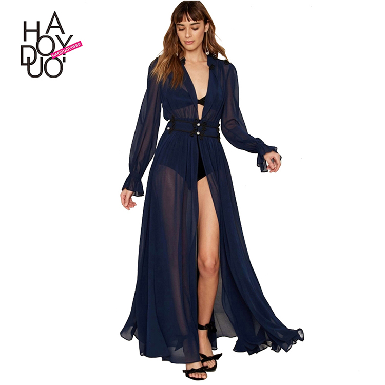 HAODUOYI Ruffles Chiffon Long Sleeve Dress Diamond Pleated Maxi Vestido Elegant Sweet Sheer Summer Women Dress For Wholesale