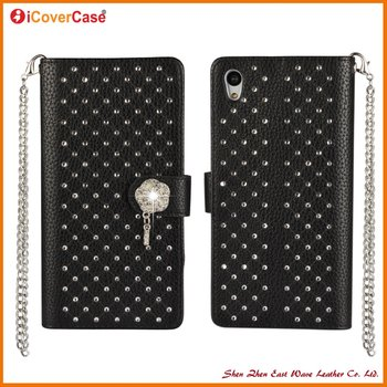 For Sony xperia Z5 Fashion Side Flip PU Leather Wallet Case with diamond and Chain