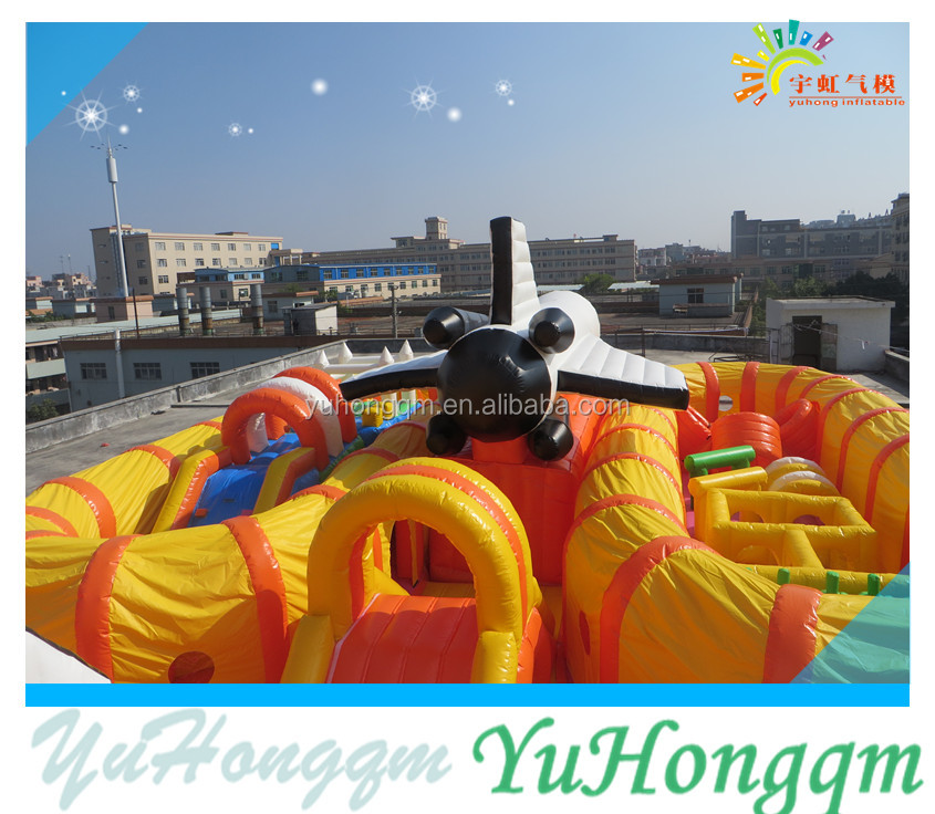 2016 hot sale factory price with two airfields airplane inflatable amusement park rides