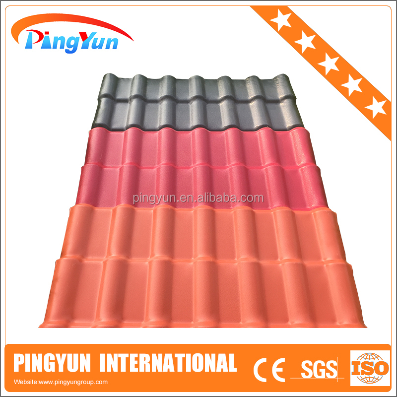 color stable ASA coated PVC plastic roofing sheet/fire proof Synthetic resin roofing tiles/corrosion resistant anti impact roof