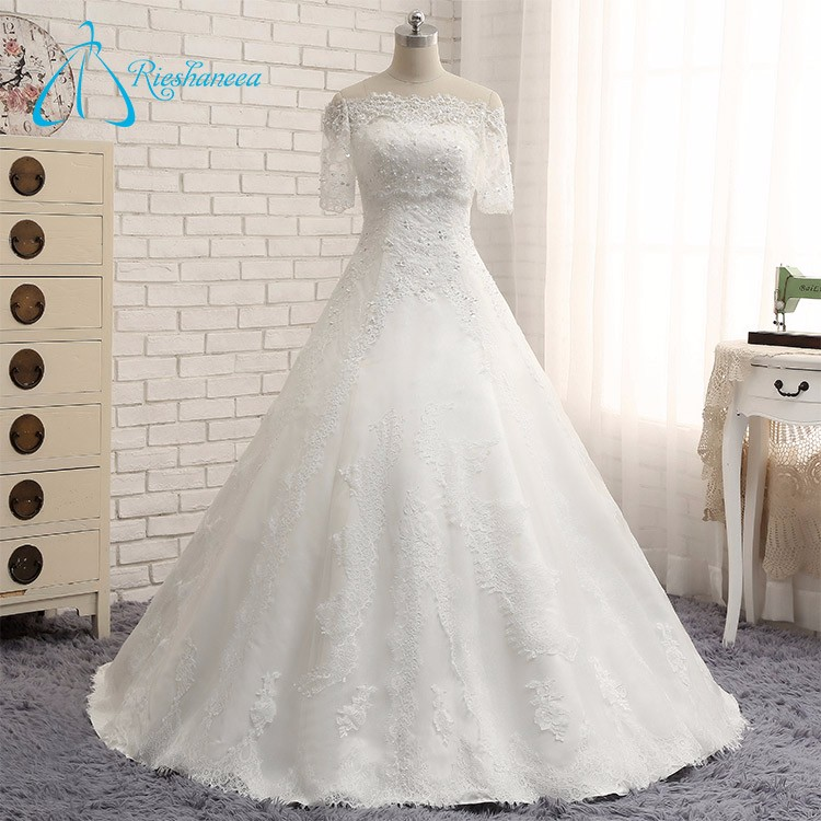 Beading Pearls Sequined Real Wedding Dress