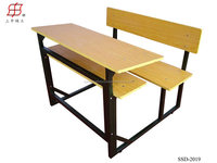 2015 hot sale school furniture double combined desk and chair
