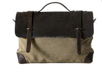 Men Dry waxed canvas tote bag with top grain strap leather cover