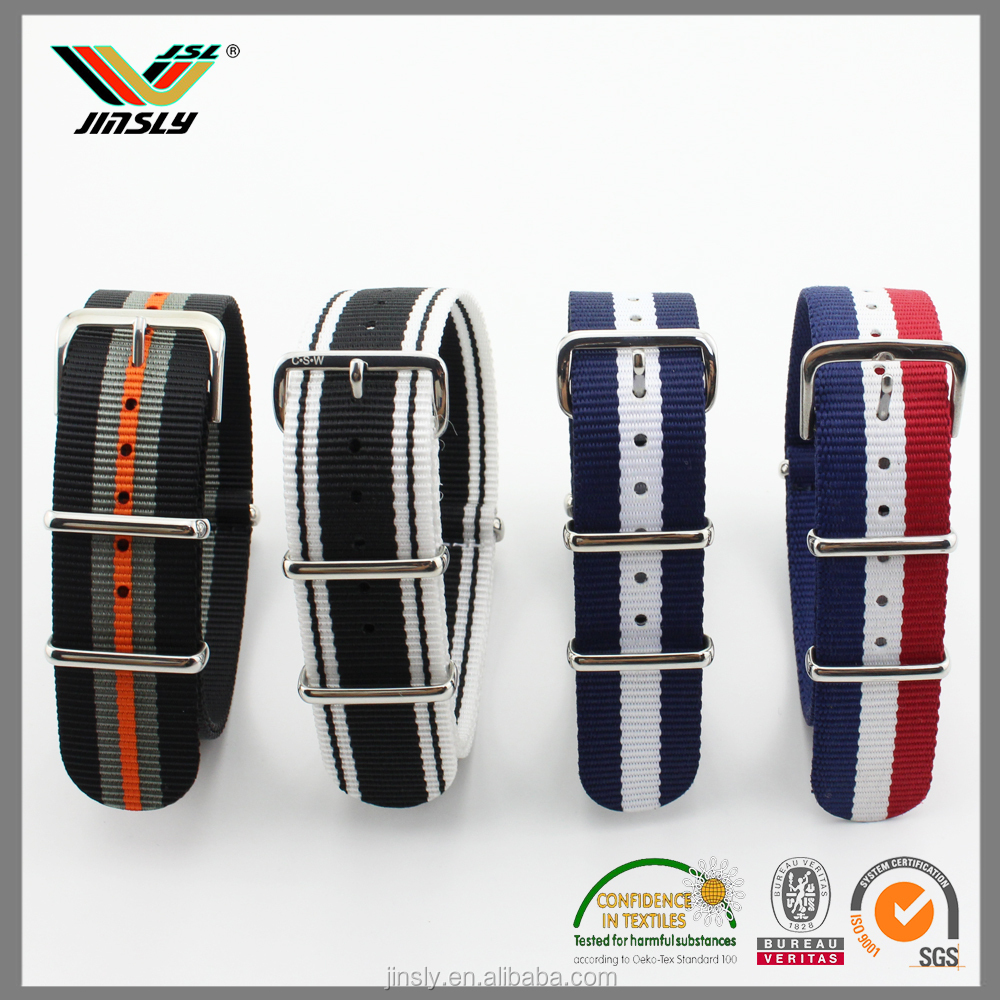 20-22mm laser logo electroplate buckle woven nato wholesale nylon watch strap