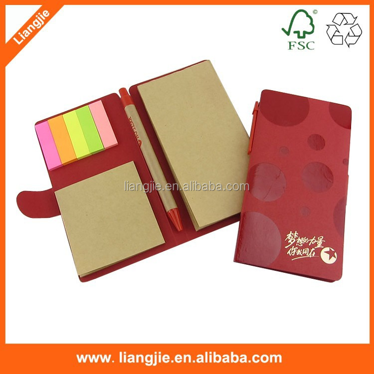 Imprinted high quality craft paper sticky notes ,writing pads with ballpen