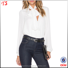 Top quality factory oem tops fashion in white custom wholesale tie blouses