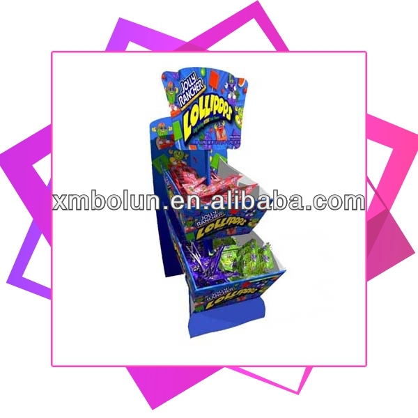 2 tiers promotional cardboard countertop candy store display with pvc advertising