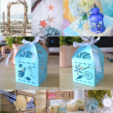 paper bags with seashells,sea shells starfish box,under the sea party supplies