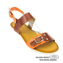 factory outlets flat innovative upper design buckle metal decoration lady design own shoes sandals