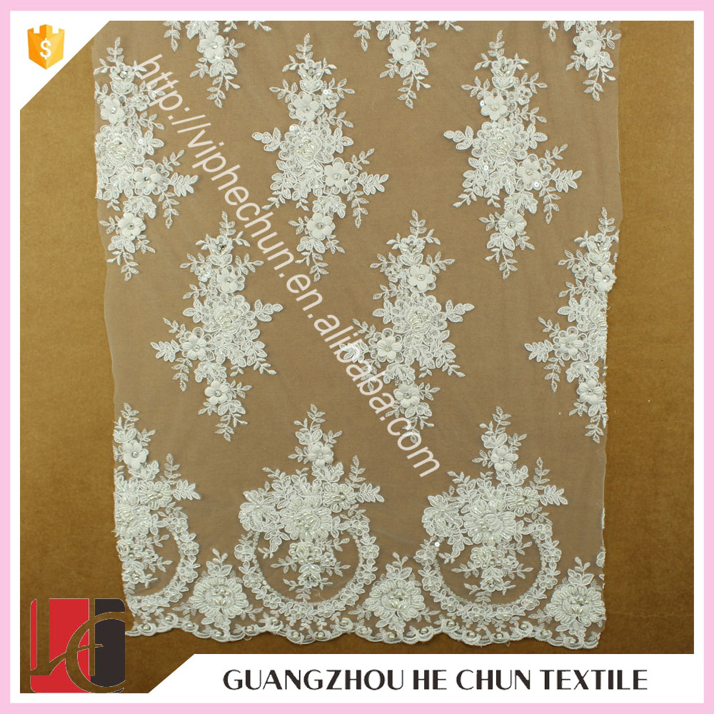 HC-5429-1 Hechun White Embellished Chiffon Bead Bridal Lace Fabric for Bridal Dress