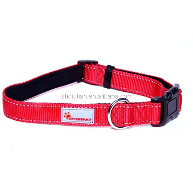LARGE PADDED RED dog collar with REFLECTIVE STITCHING and ADJUSTABLE LENGTH