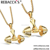 Rebaccas Fashion & Wholesale Stainless Steel Silver Tone Gym Dumbbells Barbells Fitness Sports Charms Necklaces Jewelry