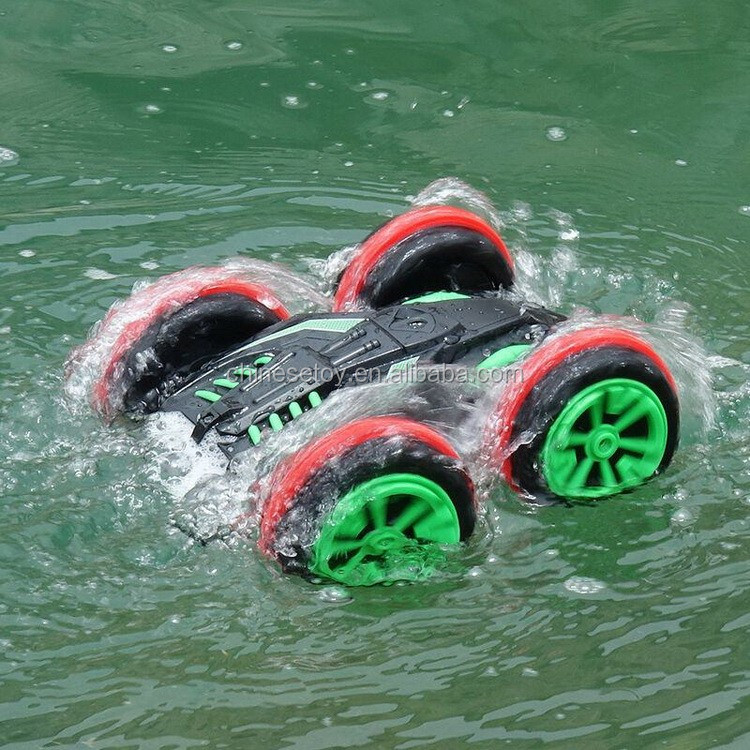 2.4Ghz RC Buggy 4WD Powerful Extreme Stunt Amphibious Car Drive on Land and Water Remote Control Car Toy 360 Degree Spins Flips