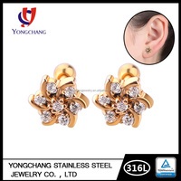 Custom high quality wholesale plated gold flower shape 316l stainless steel prong set zircon women stud earring