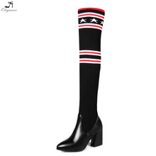 2017 Brand Popular Women Shoes Black Embroidery Woolen Yarn Long Shaft 20 Inches Thigh High Sock Boots