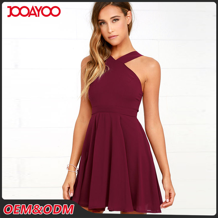 2017 Spring New Fashion Dress Lovely Burgundy Chiffon Sleeveless Halter Skater Dress