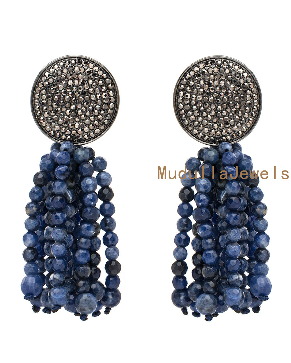 E17041704 Pave Rhinestone Disk Sodalite Beaded Fringe Tassel Pendants Earring New Boho Earrings For Women