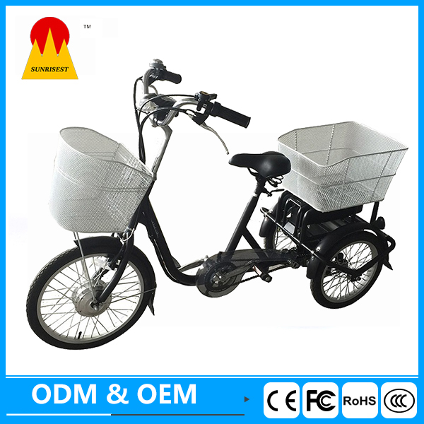 3 wheel Electric scooter with front basket