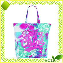 2017 hot sale reusable customized sublimation printed tote beach promotional shopping T/C material cotton shopping bag