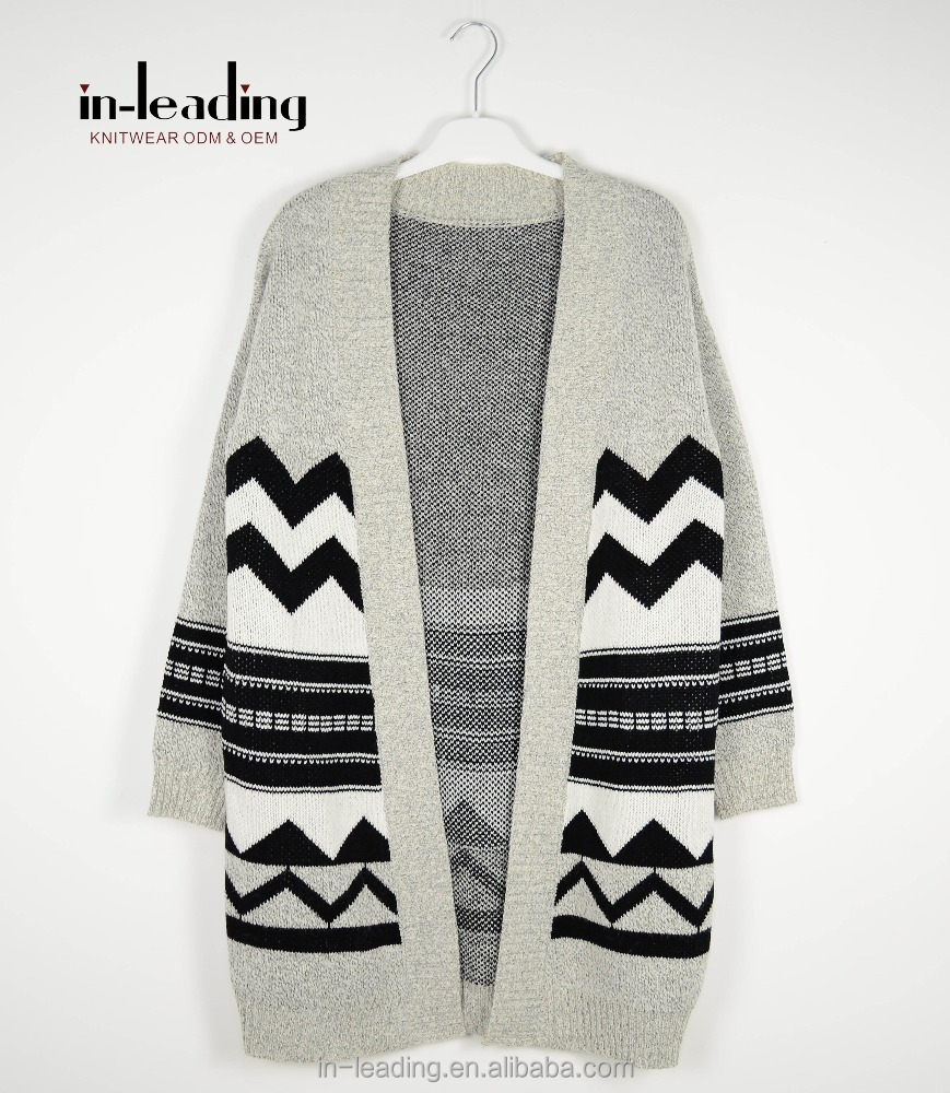 Ladies Knit Sweater Adult Jacquard Cardigan Women