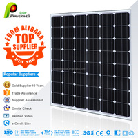 Powerwell Solar 130 watt 24v mono solar panel photovoltaic with CEC/IEC/TUV/ISO/INMETRO/CE certifications