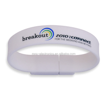 Low price usb 2.0 interface wristband bracelet design wearable flash drive with custom logo print and optional capacity