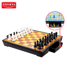 Zhorya wholesale plastic 4 in 1 magnetic checkers chess board set for kids education
