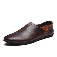 2018 New slip on breathable flat men leather casual loafer shoes