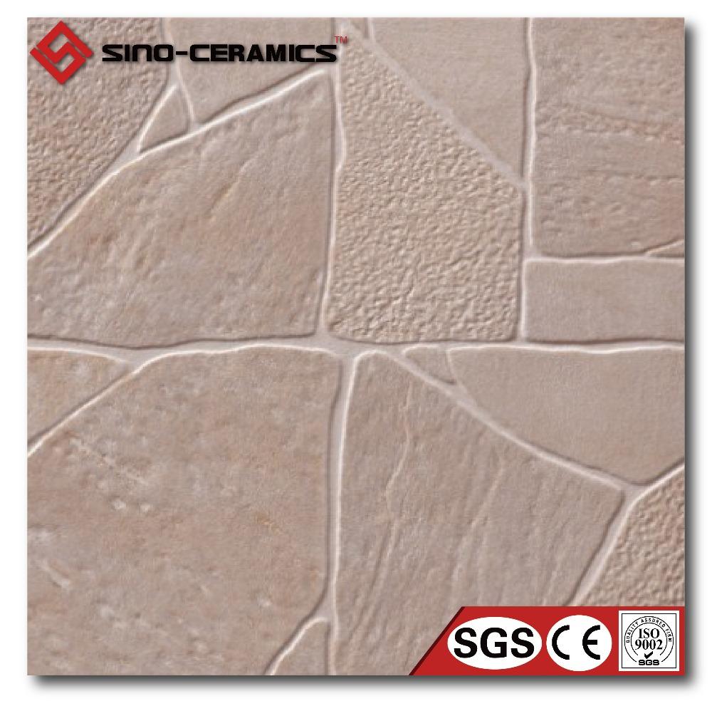 Beige slate floor tiles