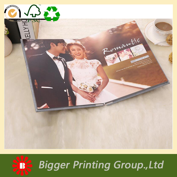 custom printed hardcover wedding photo album with embossed