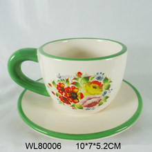 Superior flower and birds decal ceramic espresso cup & saucer
