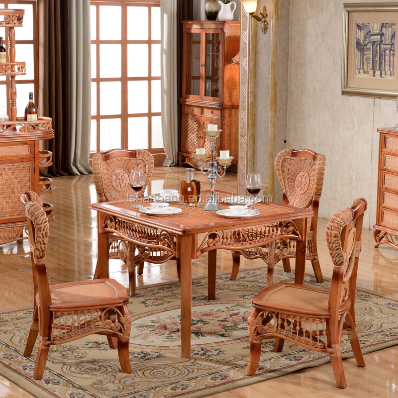 2015 China antique nature rattan malacca cane wood dinning room table chair furniture set