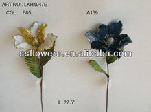"2014 Hot Sale Artificial Flower 23"" Artificial Velvet Single Magnolia With Glitter"