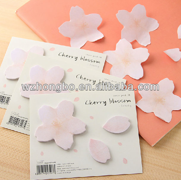 reminder note pad memo note pad flower shape sticky note pad
