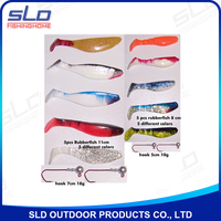 assorted fishing soft lure with jig-head combo kit in blister package