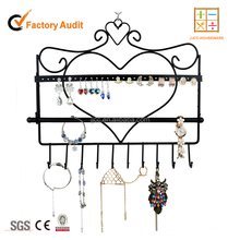 Wall Mount Heart Shape Jewelry Organizer Hanging Earring Holder Necklace Jewelry Display Stand Rack